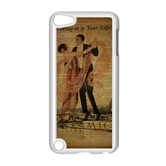 Vintage Paris Eiffel Tower Elegant Dancing Waltz Dance Couple  Apple iPod Touch 5 Case (White)