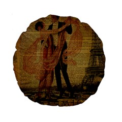 Vintage Paris Eiffel Tower Elegant Dancing Waltz Dance Couple  15  Premium Round Cushion