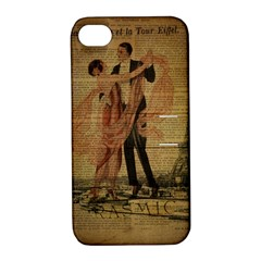 Vintage Paris Eiffel Tower Elegant Dancing Waltz Dance Couple  Apple Iphone 4/4s Hardshell Case With Stand
