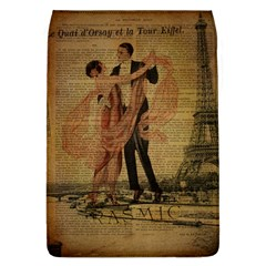 Vintage Paris Eiffel Tower Elegant Dancing Waltz Dance Couple  Removable Flap Cover (Large)