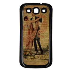Vintage Paris Eiffel Tower Elegant Dancing Waltz Dance Couple  Samsung Galaxy S3 Back Case (black)