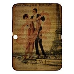 Vintage Paris Eiffel Tower Elegant Dancing Waltz Dance Couple  Samsung Galaxy Tab 3 (10.1 ) P5200 Hardshell Case