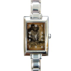 Romantic Kissing Couple Love Vintage Paris Eiffel Tower Rectangular Italian Charm Watch