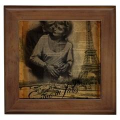 Romantic Kissing Couple Love Vintage Paris Eiffel Tower Framed Ceramic Tile