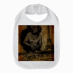 Romantic Kissing Couple Love Vintage Paris Eiffel Tower Bib