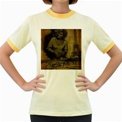 Romantic Kissing Couple Love Vintage Paris Eiffel Tower Womens  Ringer T Shirt (colored)