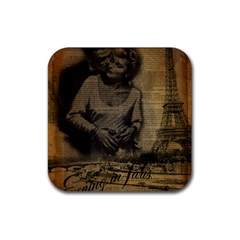 Romantic Kissing Couple Love Vintage Paris Eiffel Tower Drink Coasters 4 Pack (square)