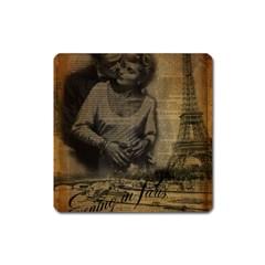 Romantic Kissing Couple Love Vintage Paris Eiffel Tower Magnet (Square)