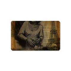 Romantic Kissing Couple Love Vintage Paris Eiffel Tower Magnet (name Card)