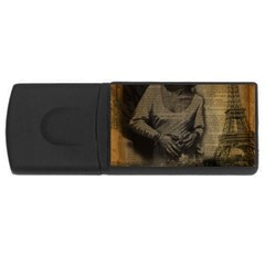 Romantic Kissing Couple Love Vintage Paris Eiffel Tower 4gb Usb Flash Drive (rectangle)