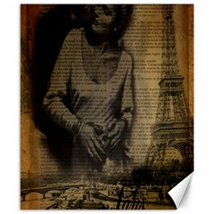 Romantic Kissing Couple Love Vintage Paris Eiffel Tower Canvas 8  X 10  (unframed)