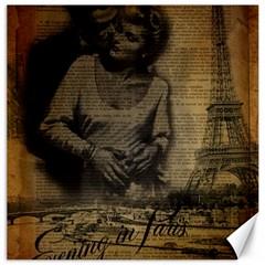 Romantic Kissing Couple Love Vintage Paris Eiffel Tower Canvas 16  x 16  (Unframed)