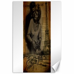 Romantic Kissing Couple Love Vintage Paris Eiffel Tower Canvas 20  X 30  (unframed)
