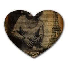 Romantic Kissing Couple Love Vintage Paris Eiffel Tower Mouse Pad (Heart)