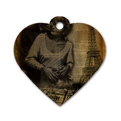 Romantic Kissing Couple Love Vintage Paris Eiffel Tower Dog Tag Heart (One Sided)