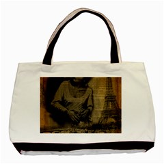 Romantic Kissing Couple Love Vintage Paris Eiffel Tower Twin Sided Black Tote Bag