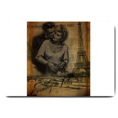 Romantic Kissing Couple Love Vintage Paris Eiffel Tower Large Door Mat