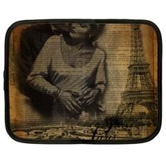 Romantic Kissing Couple Love Vintage Paris Eiffel Tower Netbook Case (Large)