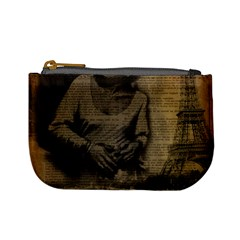 Romantic Kissing Couple Love Vintage Paris Eiffel Tower Coin Change Purse