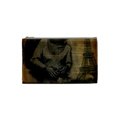 Romantic Kissing Couple Love Vintage Paris Eiffel Tower Cosmetic Bag (small)