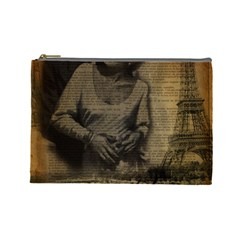Romantic Kissing Couple Love Vintage Paris Eiffel Tower Cosmetic Bag (Large)