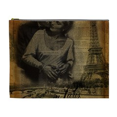 Romantic Kissing Couple Love Vintage Paris Eiffel Tower Cosmetic Bag (XL)