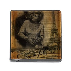 Romantic Kissing Couple Love Vintage Paris Eiffel Tower Memory Card Reader With Storage (square)