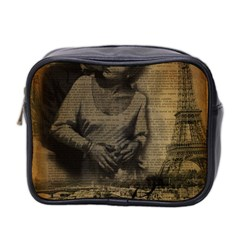 Romantic Kissing Couple Love Vintage Paris Eiffel Tower Mini Travel Toiletry Bag (Two Sides)