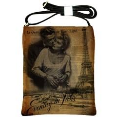 Romantic Kissing Couple Love Vintage Paris Eiffel Tower Shoulder Sling Bag
