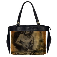 Romantic Kissing Couple Love Vintage Paris Eiffel Tower Oversize Office Handbag (Two Sides)
