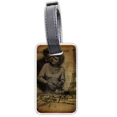 Romantic Kissing Couple Love Vintage Paris Eiffel Tower Luggage Tag (One Side)