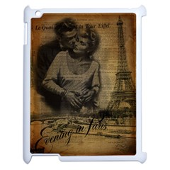 Romantic Kissing Couple Love Vintage Paris Eiffel Tower Apple Ipad 2 Case (white)