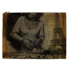 Romantic Kissing Couple Love Vintage Paris Eiffel Tower Cosmetic Bag (XXL)