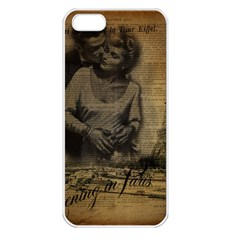 Romantic Kissing Couple Love Vintage Paris Eiffel Tower Apple iPhone 5 Seamless Case (White)