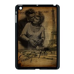 Romantic Kissing Couple Love Vintage Paris Eiffel Tower Apple Ipad Mini Case (black)