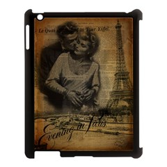 Romantic Kissing Couple Love Vintage Paris Eiffel Tower Apple iPad 3/4 Case (Black)