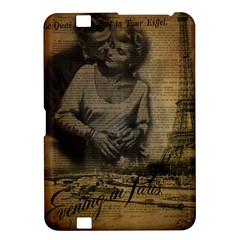 Romantic Kissing Couple Love Vintage Paris Eiffel Tower Kindle Fire HD 8.9  Hardshell Case