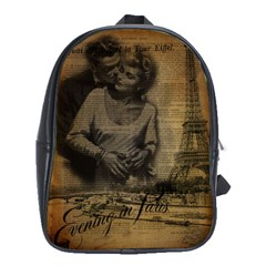 Romantic Kissing Couple Love Vintage Paris Eiffel Tower School Bag (xl)