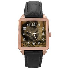 Romantic Kissing Couple Love Vintage Paris Eiffel Tower Rose Gold Leather Watch