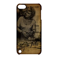Romantic Kissing Couple Love Vintage Paris Eiffel Tower Apple iPod Touch 5 Hardshell Case with Stand