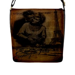 Romantic Kissing Couple Love Vintage Paris Eiffel Tower Flap Closure Messenger Bag (large)