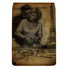 Romantic Kissing Couple Love Vintage Paris Eiffel Tower Removable Flap Cover (large)