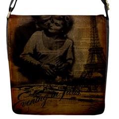 Romantic Kissing Couple Love Vintage Paris Eiffel Tower Flap Closure Messenger Bag (small)