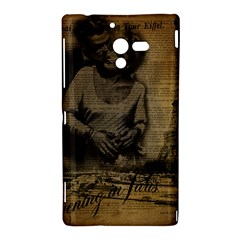 Romantic Kissing Couple Love Vintage Paris Eiffel Tower Sony Xperia ZL L35H Hardshell Case