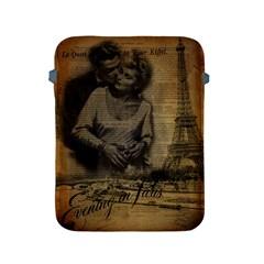 Romantic Kissing Couple Love Vintage Paris Eiffel Tower Apple iPad 2/3/4 Protective Soft Case