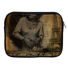 Romantic Kissing Couple Love Vintage Paris Eiffel Tower Apple iPad 2/3/4 Zipper Case