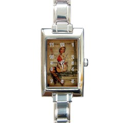 Vintage Newspaper Print Pin Up Girl Paris Eiffel Tower Funny Vintage Retro Nurse  Rectangular Italian Charm Watch
