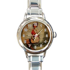 Vintage Newspaper Print Pin Up Girl Paris Eiffel Tower Funny Vintage Retro Nurse  Round Italian Charm Watch