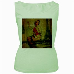 Vintage Newspaper Print Pin Up Girl Paris Eiffel Tower Funny Vintage Retro Nurse  Womens  Tank Top (Green)
