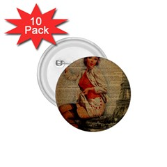 Vintage Newspaper Print Pin Up Girl Paris Eiffel Tower Funny Vintage Retro Nurse  1.75  Button (10 pack)